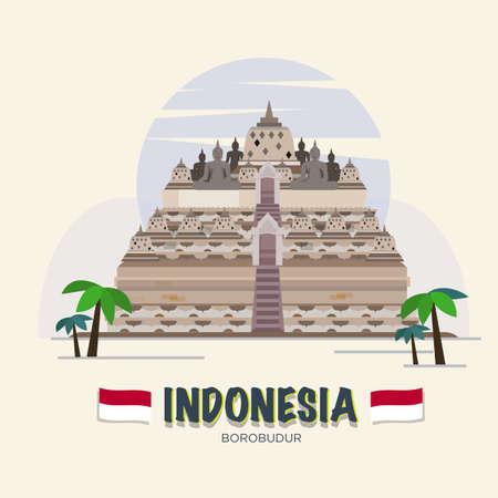 ボロブドゥール。インドネシアのランドマーク。  イラスト・ベクター素材