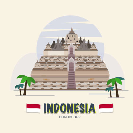 Borobudur. indonesia landmark. Stock Vector - 51665602