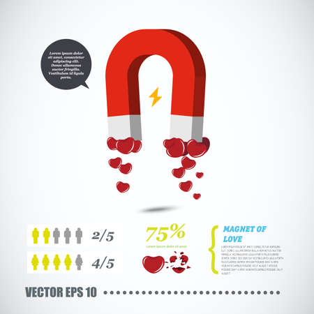 collecting: magnet collecting heart. love concept - vector illustration