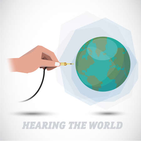 plugging: sound of earth. hand plugging into the world - vector illustration Illustration
