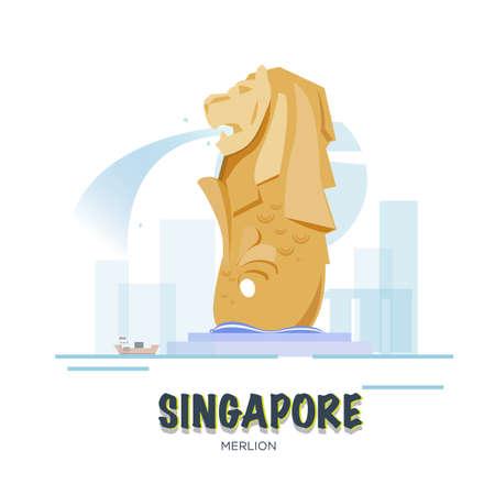 landmark: Singapore landmark. Illustration