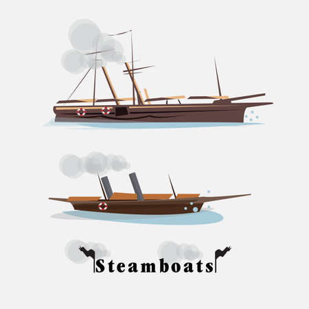 napoleon: steamboat. vintage boat concept - vector illustration Illustration