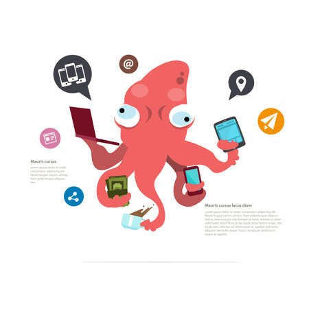 computer work: busy squid character. management concept. social network icon - vector illustration Illustration