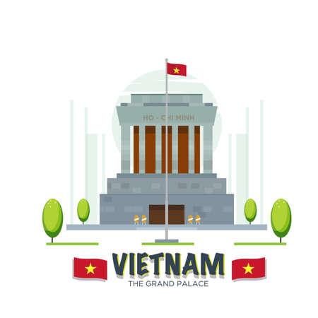 ho: vietnam grand palace landmark - vector illustration