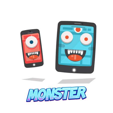 killing: killing time monster. smart phone and tablet. virus - vector illustration