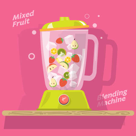 cartoon strawberry: blending machine with mix of fruits . juice. ice. strawberry. apple. orange. kiwi. rose apple - vector illustration