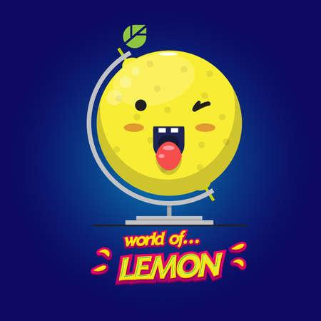 limon caricatura: limón globo terráqueo. feliz limón - ilustración vectorial Vectores