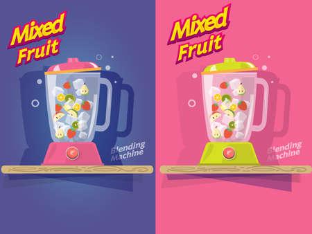 blending: mixed fruit. blending machine - vector illustration