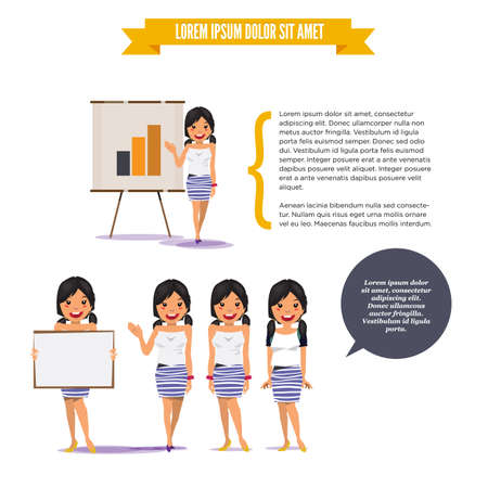 beautiful teen girl: beautiful teen girl presenting on paperboard in various poses for use in presentations, etc.