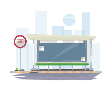 transportation cartoon: bus stop with city background - illustration