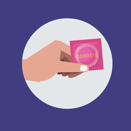 educacion sexual: la mano con el preservativo - ilustración