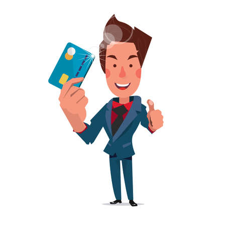 smart card: smart man showing credit card. character - illustration
