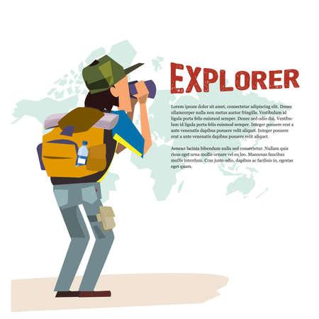 mochila de viaje: hombre con explorer telescopio. carácter mochilero. concepto de aventura - ilustración Vectores