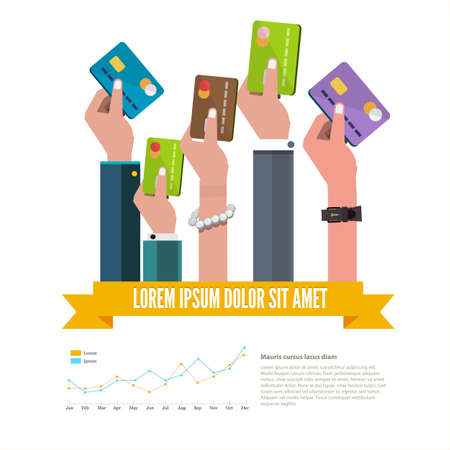 woman credit card: hand with credit card - illustration Illustration