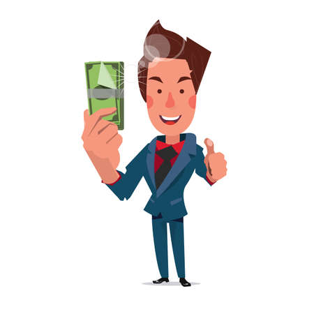 smart man: smart man thumbs up and show money. bank note - illustration