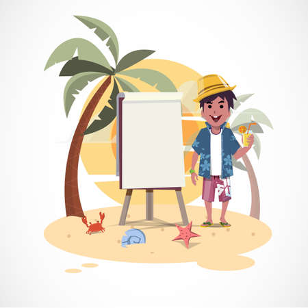 paperboard: summer boy and paperboard on the beach with sunset - illustration Illustration