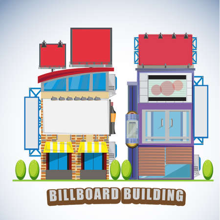 bill board: townhouse buildings with billboard sign - illustration