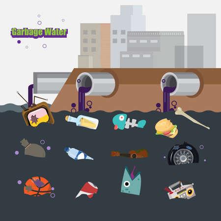 aguas residuales: aguas residuales con la basura - ilustración Vectores