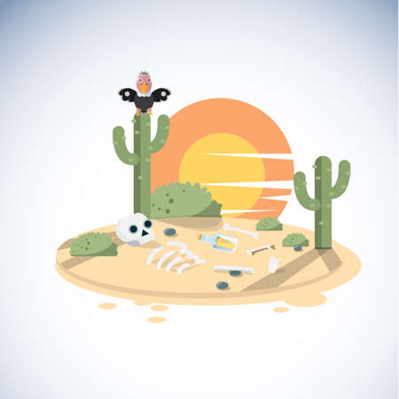 dry land: dead dessert with human skeleton. cactus. vulture - illustration
