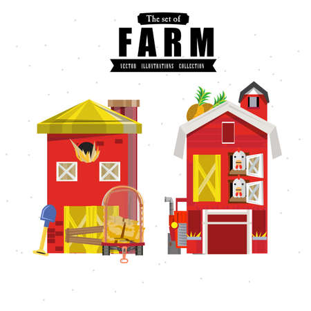 yards: farm house in variou style - illustration