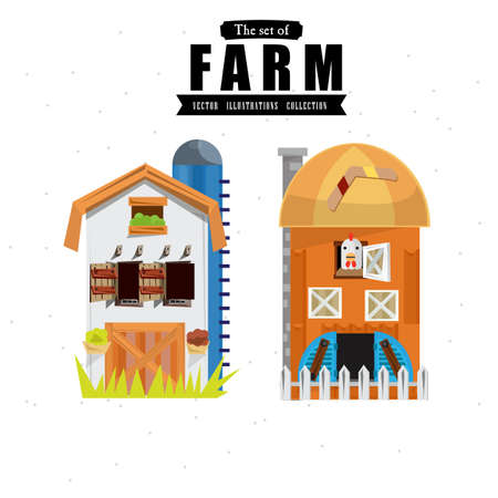 colonial house: farm house in variou style - illustration