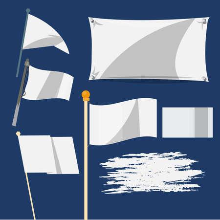 white flag: blank flag in various style - vector illustration Illustration