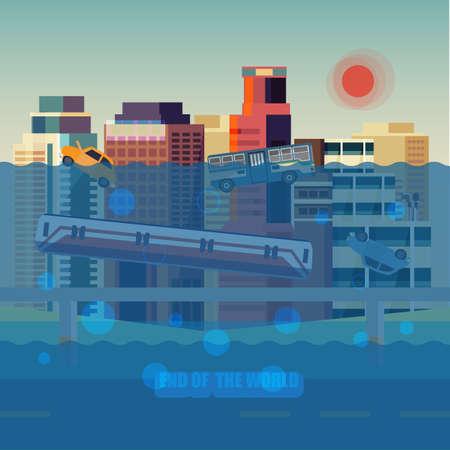 flood city - vector illustration