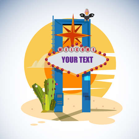 blanked: Welcome to Las Vegas sign with text blanked out - vector illustration