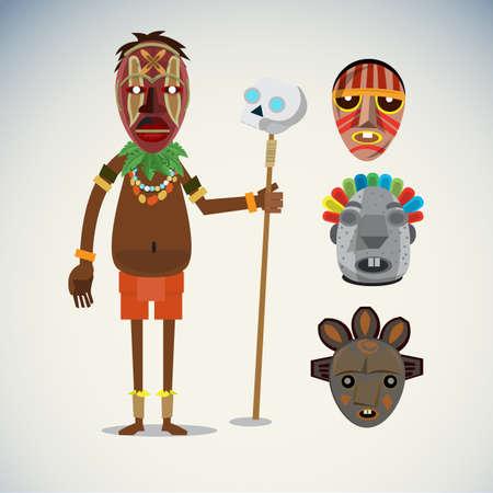 shaman: african shaman character with masks set - vector illustration Illustration