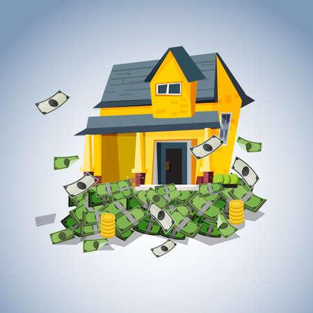 casa en la pila de dinero, bienes raíces concepto de negocio - ilustración vectorial