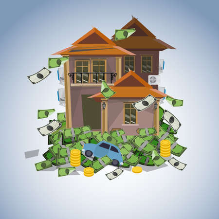 movable: house and car on money stack, real estate business concept - vector illustration Illustration