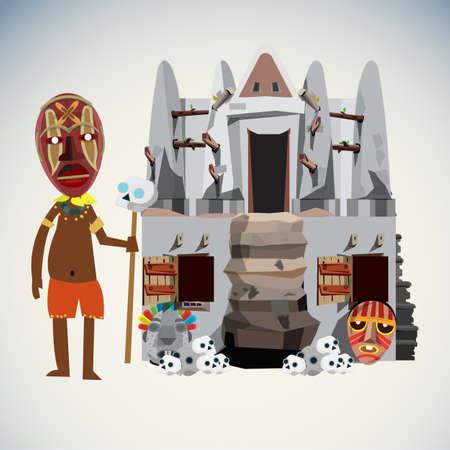 shaman: shaman character and hut. - vector illustration