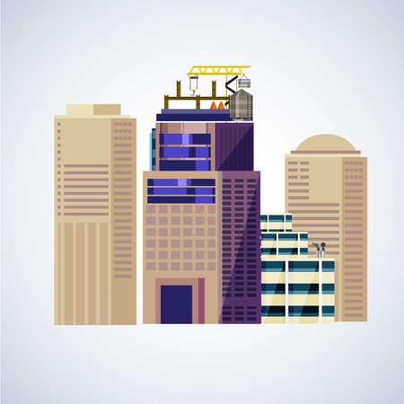 building construction: under construction building - vector illustration Illustration