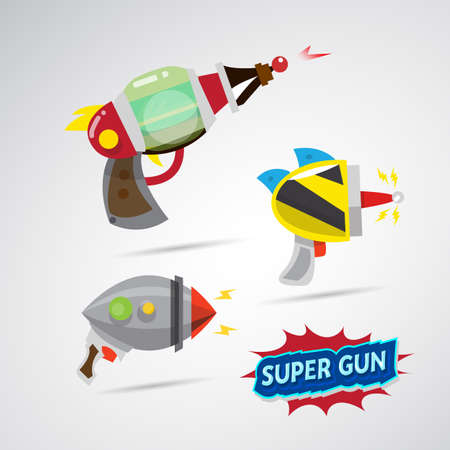 gun room: ray gun cartoon. supergun. - vector illustration