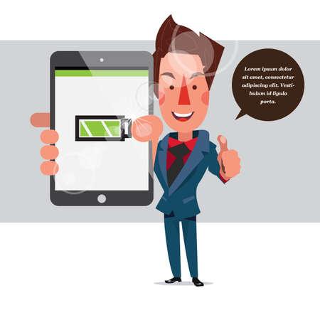 smart man: smart man holding tablet with full battery - vector illustration Illustration
