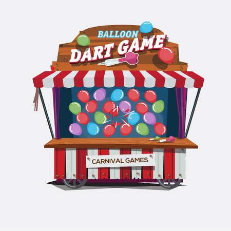 carnival: globos de juego de dardos. carnaval carrito concepto - ilustración vectorial