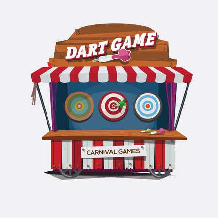 carnaval: ballon jeu de fléchettes. carnaval panier concept - illustration vectorielle