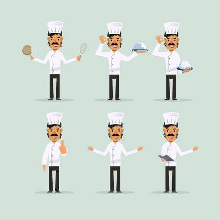 vector set: chef character set - vector illustration