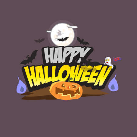 ghost character: Halloween lettering with element. pumpkin. flying bat. ghost character and witch - vector illustration