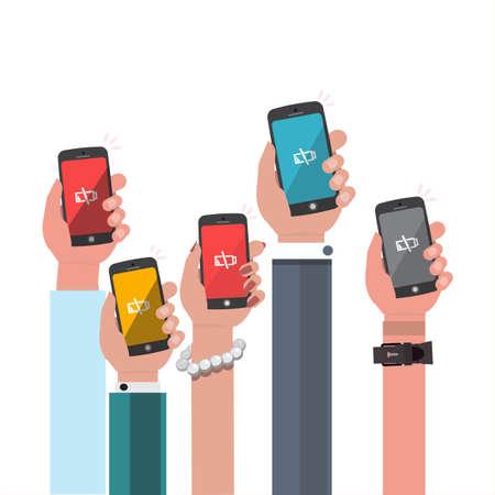 telefono caricatura: sosteniendo teléfono inteligente de la batería bajo la mano - ilustración vectorial