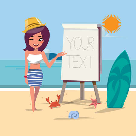 paperboard: summer beach girl presenting with paperboard - vector illustration Illustration