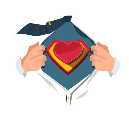 supermom: super hero with heart - vector illustration