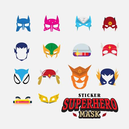 sexo femenino: máscara de héroe. carácter cara - ilustración vectorial Vectores