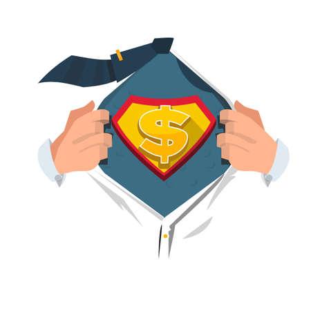 moneyman opening shirt in superhero style. money concept - vector illustration