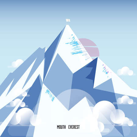 mount: Mount Everest. snow mountain - vector illustration