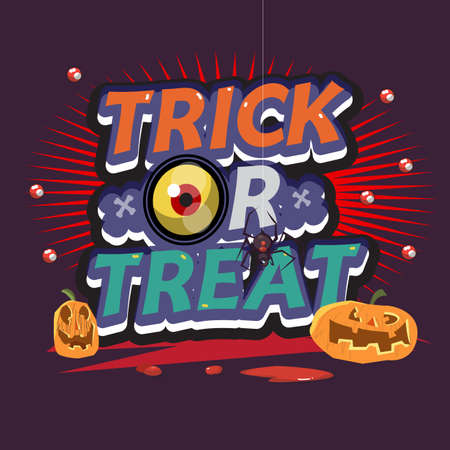 trick or treat: trick or treat letters. halloween concept - vector illustration