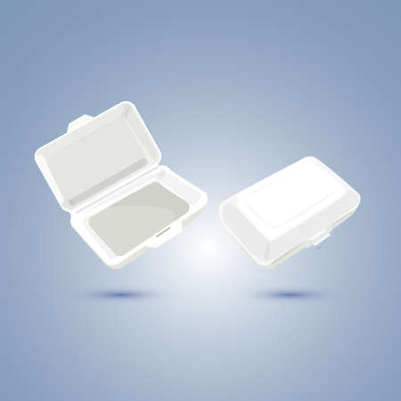 polystyrene: foam lunch box - vector ilustration