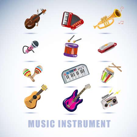 instruments de musique: instruments set - illustration vectorielle Illustration