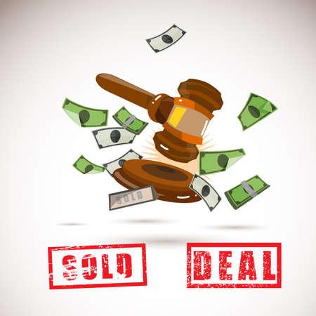 judge gavel: judge gavel with money. bidding concept - vector illustration
