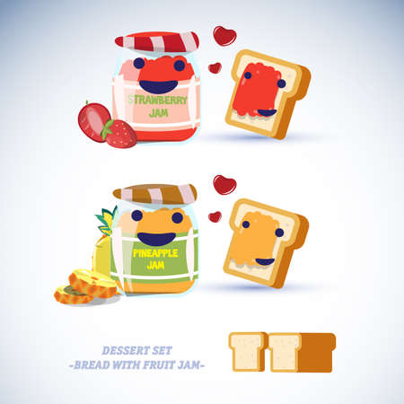 fruit jam: bread with fruit jam character. pineapple and strawberry - vector illustration Illustration